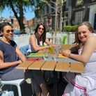 Diana Smith, Sarah Copsey and Liz Montesuelli out enjoying the sunshine in Norwich on the May bank h