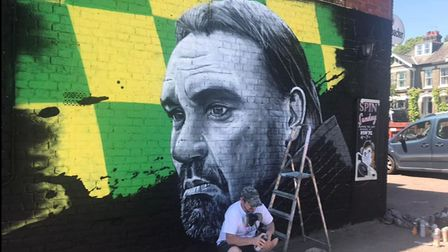 The mural when it was nearly finished.