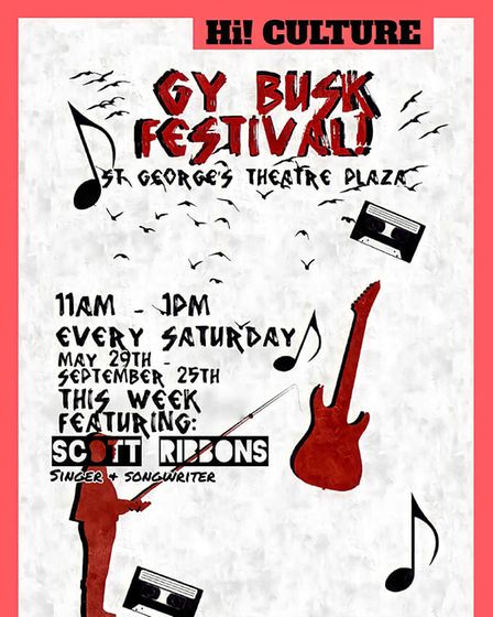 The flyer for the Busking Festival at St George's Theatre cafe.