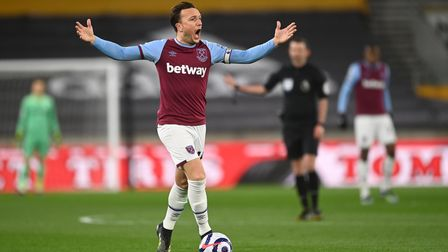 West Ham United's Mark Noble reacts during the Premier League match at the Molineux Stadium, Wolverh