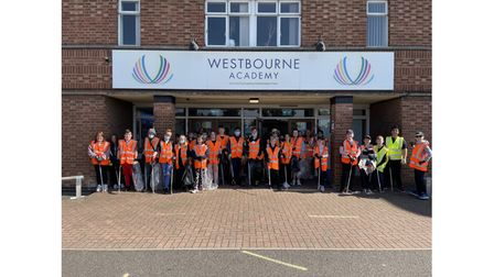 The line-up of students at Westbourne Academy before their litter pick