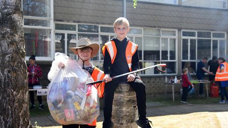 Lennie and Ethan picked up lots of rubbish while onWestbourne Academy's litter pick