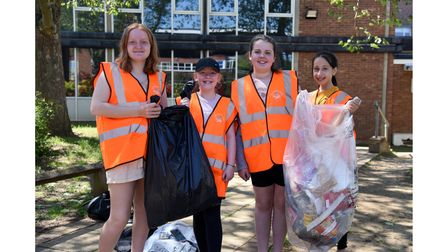 Matilda, Polly, Grace and Sonjela after completing the Westbourne Academy litter pick in the school grounds and nearby area