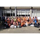 Year 7 students at Westbourne Academy with the rubbish they collected during their litter pick