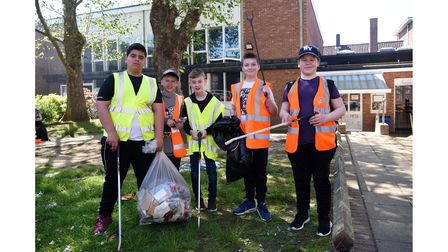 Aziz, Logan, Dennis, Charlie and George after taking part in the litter pick with Westbourne Academy