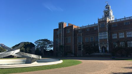 The Renaissance water sculpturedesigned by Angela Conner takes pride of place on the North Front of Hatfield House.