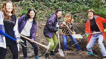 Volunteers working on the Fungi Shed plot in Queen's Wood, Highgate