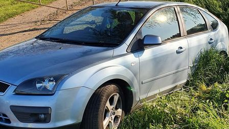Police say the driver of this car that reversed into a Fenland ditch was four times over the drink driving limit.