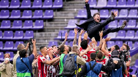 VALLADOLID, SPAIN - MAY 22: Diego Pablo Simeone, head coach of Atletico de Madrid is thrown by the