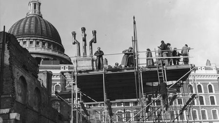 Specially erected scaffolding near St Paul's Cathedral for Ealing crime thriller 'Pool of London'.