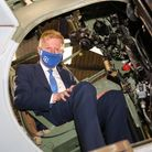 Culture Secretary and Hertsmere MP Oliver Dowden in the pilot's seat of the DH Mosquito at the de Havilland Aircraft Museum.