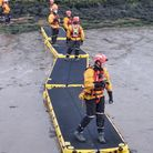 Fire crews rescuing the stranded boat