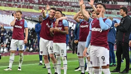 West Ham United players during a lap of appreciation at the end of the Premier League match at the L