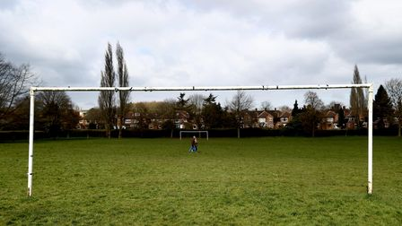 Goal posts on an empty recreation ground in Nottingham