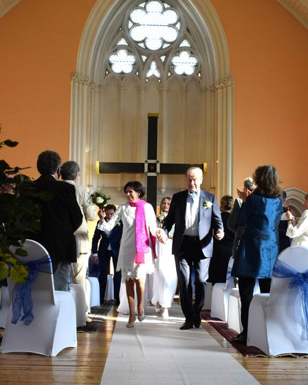 The wedding of Marjorie Wallace and John Mills at Pond Square Chapel, Highgate