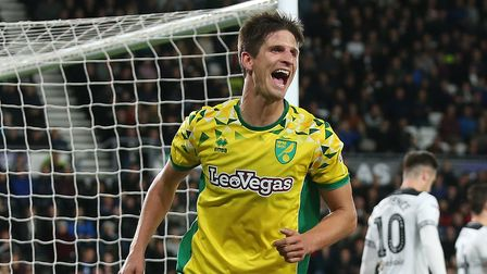 Timm Klose of Norwich celebrates scoring his sides 1st goal during the Sky Bet Championship match at