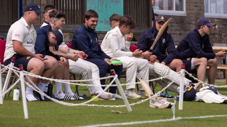 Clevedon players look on