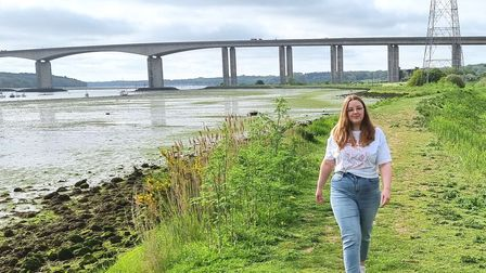 Rose Ling walking beside the River Orwell as part of her 100-mile walk in 30 days in memory of her friend Amelie Guerin