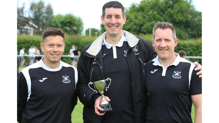 Clevedon United management trio with the Somerset Senior Cup.