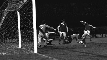 John Wark fires home one of hs hat-trick of goals to sink Widzew Lodz 5-0 at Portman Road, back on