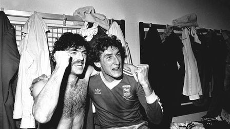 John Wark and Terry Butcher celebrate the UEFA Cup semi-final win over Cologne in 1981