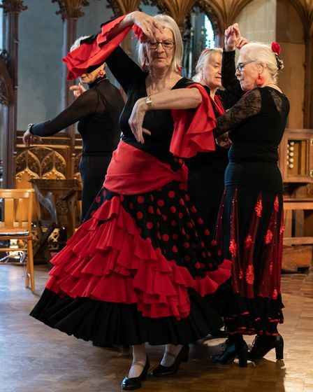 The North Norfolk u3a flemenco group giving a performance.