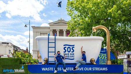Affinity Water visited St Albans with their giant bath tub as part of their SOS Save Our Streams campaign