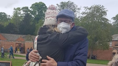 Louisa was finally able to meet up with her dad and have a hug.
