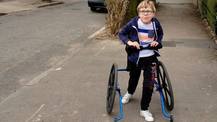 Volunteers from Remap Essex West were able to modify the walker for a little boy with cerebral palsy.