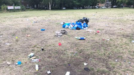 Rubbish left in the park in 2020.