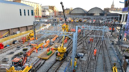Work to transform tracks at London King's Cross station.