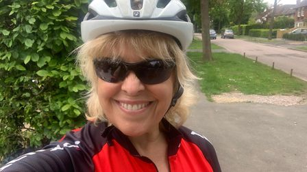 Sue Graham in her cycling gear