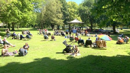 Crowds enjoy the live music in Wisbech Park