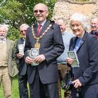 Saffron Walden Heritage Development Group's launch of the new Medieval Walden leaflet and video with mayor Richard Porch