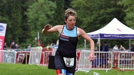 Claire Bloom in action at Bedford Triathlon