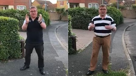 Mark Francois claps for carers outside his home in Rayleigh. Photograph: Facebook.