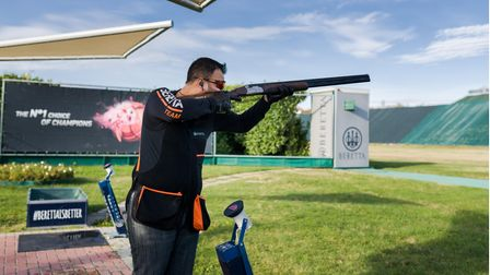Aaron Heading Trap shooter shooting at an Olympic Trap training ground