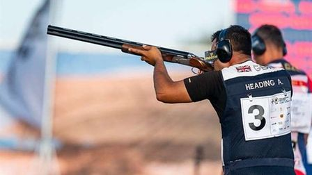 Olympic trap shooter Aaron Heading shooting at a competition