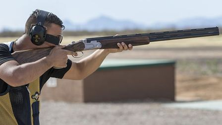 Olympic Trap shooter Aaron Heading training with his shotgun