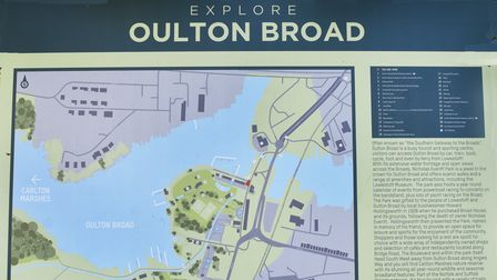 The explore Oulton Broad sign.