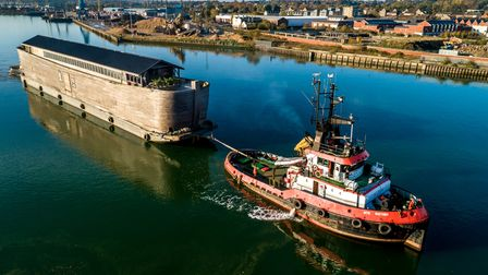 A replica of Noah's Ark arrives at ABP's Port of Ipswich, on 09-November-2019. Picture: Steph