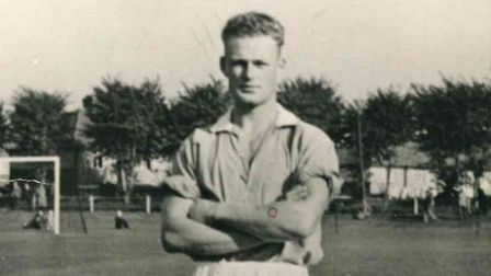 Eric Kirk, at 21-years-old, lining out for Gorleston FC in October 1951.