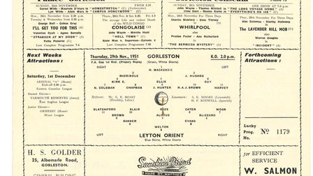 A matchday programme for Gorleston FC's FA Cup first round tie against Leyton Orient in 1951.