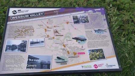 An information board exploring the Wensum Valley Nature Trail has been vandalised