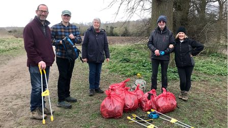 Friends of Audley Park volunteers withLouise Newman of Audley End Estate
