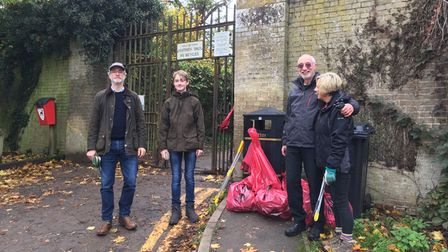 Friends of Audley Park volunteers after a litter picking session