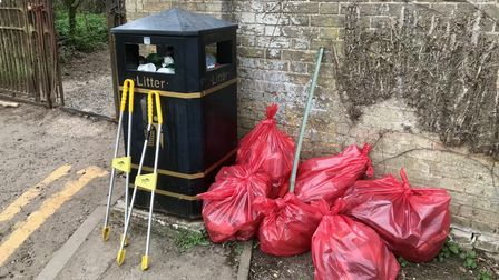 Rubbish collected by Friends of Audley Park