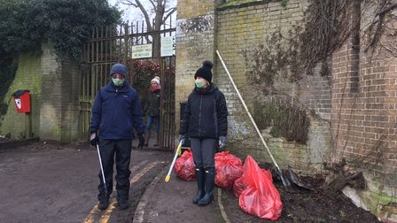Friends of Audley Park with their collected litter