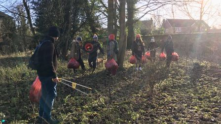 Volunteers at work, collecting litter in Audley Park