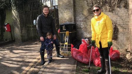 Friends of Audley Park with collected litter
